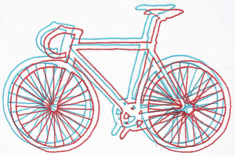 дизайн машинной вышивки ретро велосипед